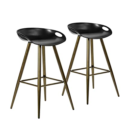 Awe Inspiring Furniturer 2Pcs Set Pub Bar Stools Retro Design Metal Round Counter Height Stool Low Back Bronze Machost Co Dining Chair Design Ideas Machostcouk
