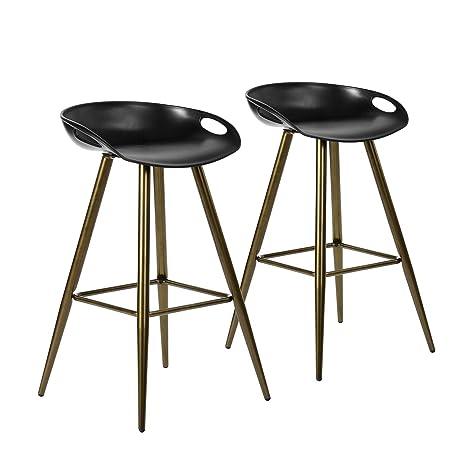 Tremendous Bar Stool Set Of 2 Contemporary Black Acrylic Fixed Height Barstool Pp Seat With Metal Tube Leg Customarchery Wood Chair Design Ideas Customarcherynet