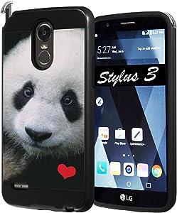 LG Stylo 3 Case, LG Stylo 3 Plus Case, Capsule-Case Hybrid Fusion Dual Layer Slick Armor Case Black for LG Stylo3 (LS777 M430 L83BL L84VL) / Stylo3 Plus (TP450 MP450) - (Panda)