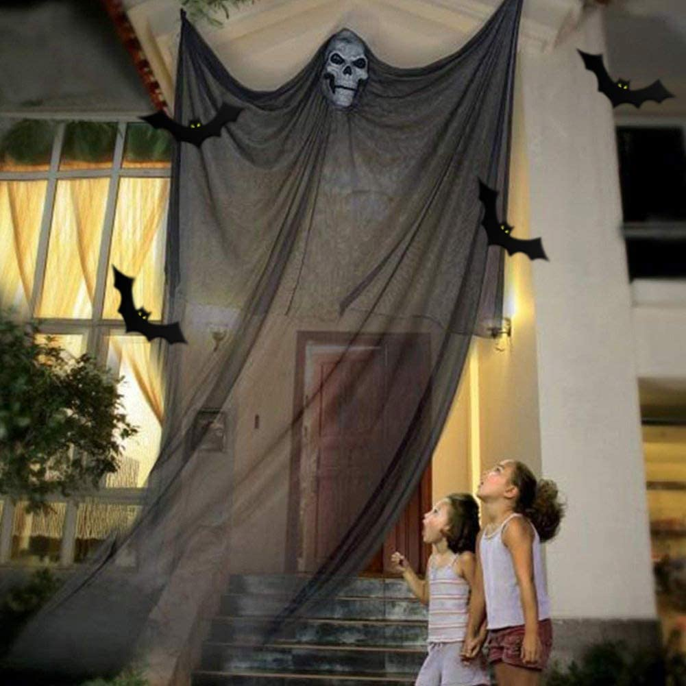 Chnaivy 11ft Halloween Prop Hanging Scary Decoration, Skeleton Flying Ghost Creepy Ornament for Outdoor Yard Garden Patio Tree Bar Windows Decor (Black)