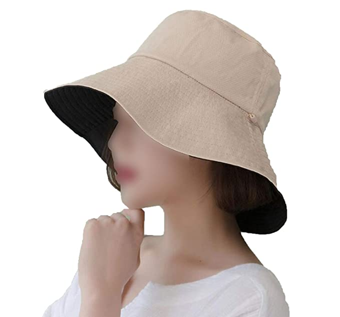 Womens Bucket Hats Cotton Fisherman Cap Solid Reversible Outdoor Sun  Protective Cap Adult Wide Brim Hat at Amazon Women s Clothing store  0eff37a0bc