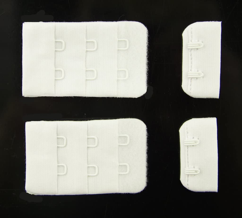 HAND White Bra Hook and Eye Bra Strap Sew-in Fasteners 2 Hooks 32 mm Wide Pack of 2 Sets