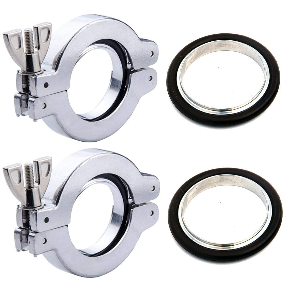 KF-25 Aluminum Quick Clamp KF25 Flage Size NW-25 Quick Flange Clamp with Wing Nut Closure+ Centering Ring with FKM O-Ring Vacuum Adapter 2 Sets