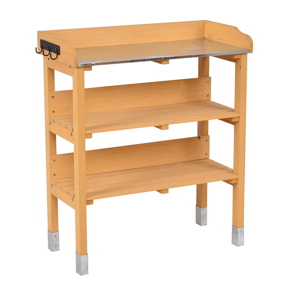 3 Tier Potting Bench Garden Planting Workstation Shelves With 3 Hooks Wooden