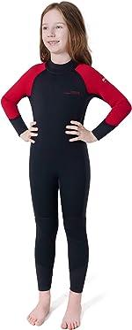 Dark Lightning 3/2mm Kids Wetsuit for Boys and Girls, Neoprene Thermal