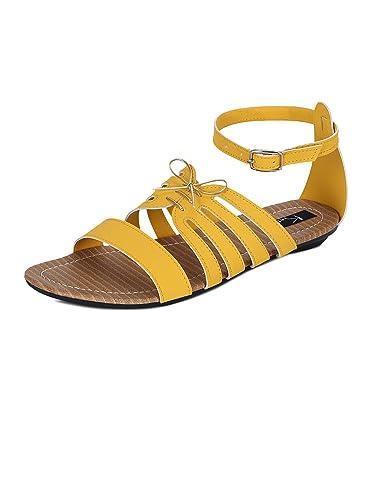 008e57c4d877fa Kielz Yellow Flat Ankle Loop Women s Sandals (GD-739-YELLOW-41) - 41 ...