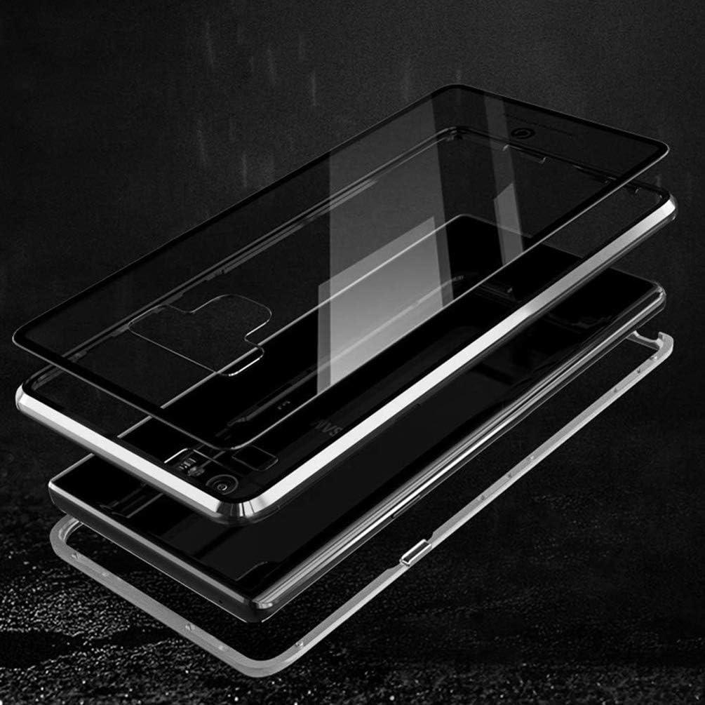 Funda Samsung Galaxy Note 9, Adsorci/ón Magn/ética Marco de Metal Carcasa de Tel/éfono Parachoque Imanes Incorporados con Cubierta Dura de Trasera de Vidrio Templado Transparente Case Cover