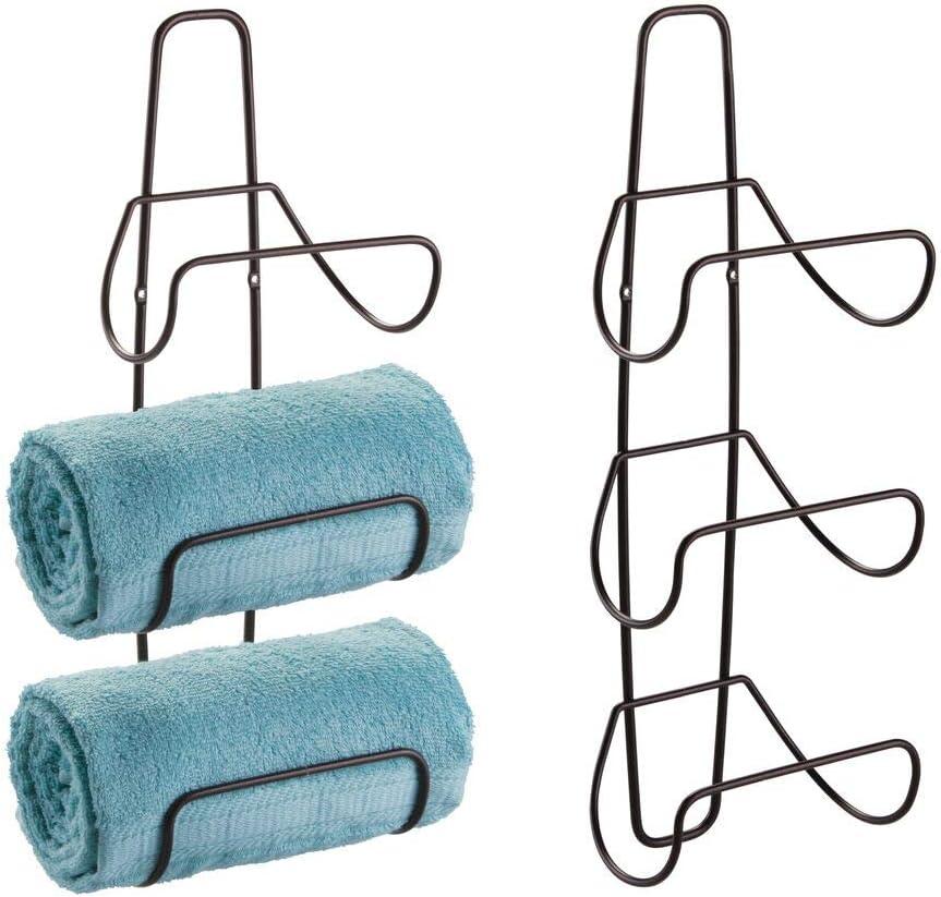 mDesign Metal Wall Mount 3 Level Bathroom Towel Rack Holder & Organizer - for Storage of Towels, Washcloths, Hand Towels, Robes - 2 Pack - Bronze: Home & Kitchen