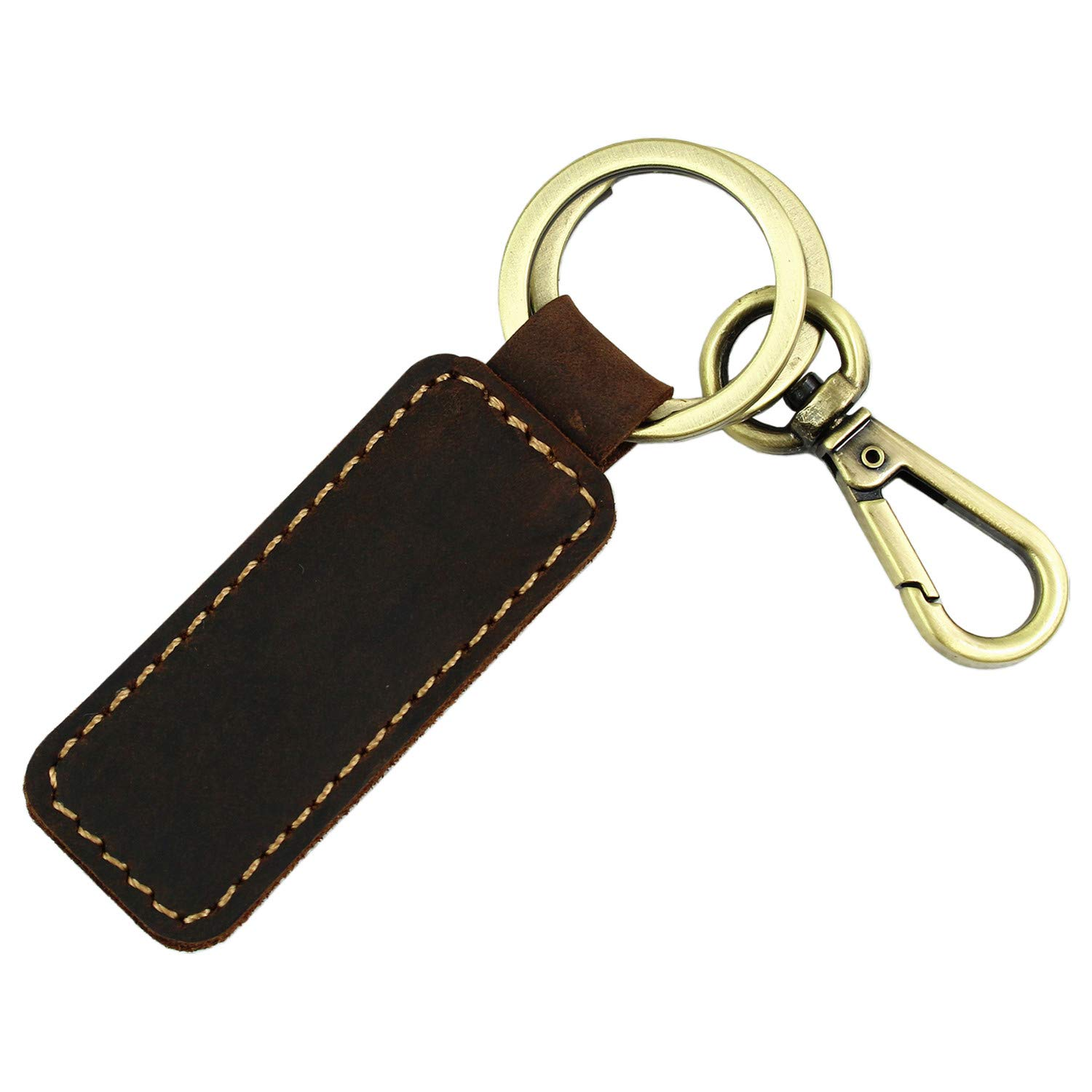 LXFF Genuine Leather Key Chain, Key Fob with Hanging Buckle (Coffee 2)