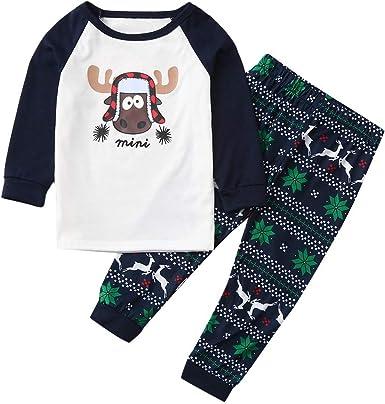 POLP niño Ropa de Dormir Navidad Ropa niñas Unisex Pijama Bebe Niños niña niños muñeco de Nieve Camiseta Tops Pantalones a Rayas Ropa de Navidad Pijamas de Dinosaurio Tops y Pantalones: Amazon.es: