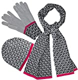Michael Kors Women's 3 Piece Small Signature Scarf, Hat & Glove Set