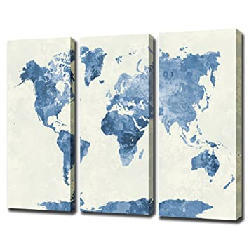 Amazon watercolor fine art world map home and office watercolor fine art world map home and office decoration canvas art home decor map gumiabroncs Choice Image