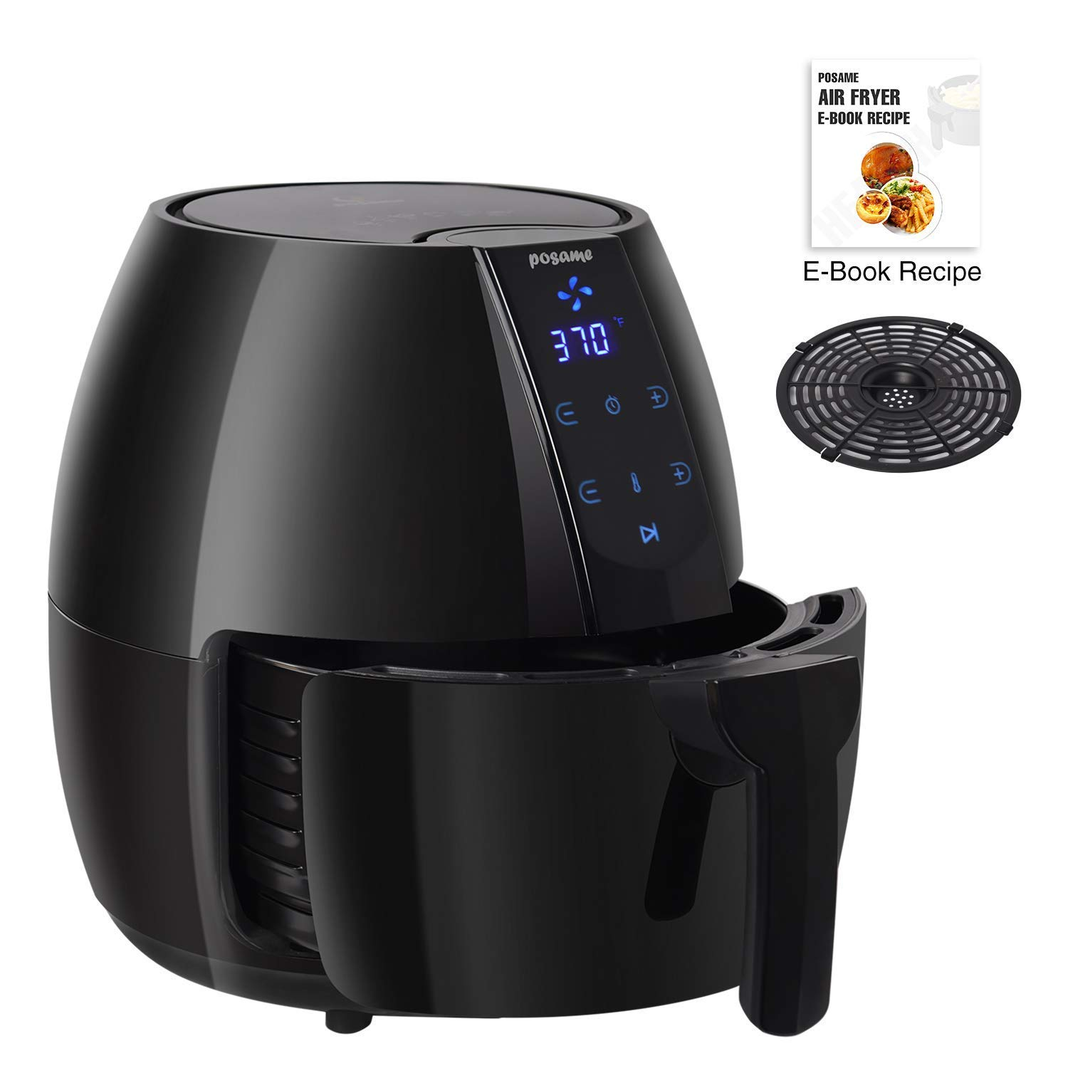 Air Fryer, POSAME LCD Digital Programmable Airfryer for Healthier Crisp Foods, Easily Detachable Frying Pot, Anti-scratch and Easy Clean Design, Auto Off and Memory Function, Family Size 4.2Qt