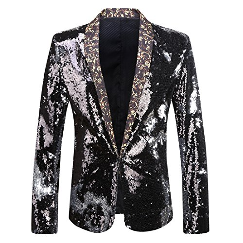 (PYJTRL Men Stylish Two Color Conversion Shiny Sequins Blazer Suit Jacket (Black + Silver,)