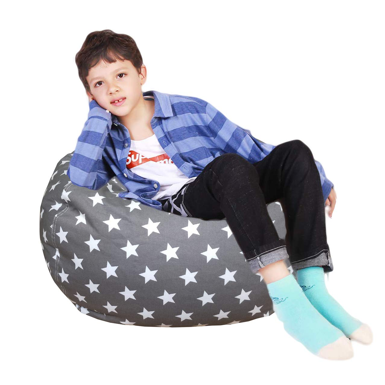 Lukeight Stuffed Animal Storage Bean Bag Chair, Bean Bag Cover for Organizing Kid s Room – Fits a Lot of Stuffed Animals, Large Stars Gray