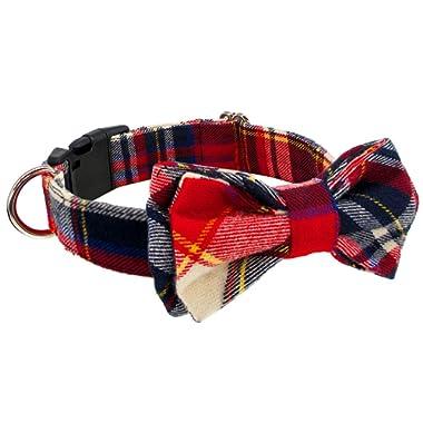 Kebs Cat & Dog Bow Tie Collar Soft & Comfy Classic Plaid Bowtie Adjustable Bowtie Collar