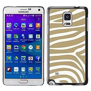 FECELL CITY // Duro Aluminio Pegatina PC Caso decorativo Funda Carcasa de Protección para Samsung Galaxy Note 4 SM-N910 // Beige White Pattern Animal Stripes