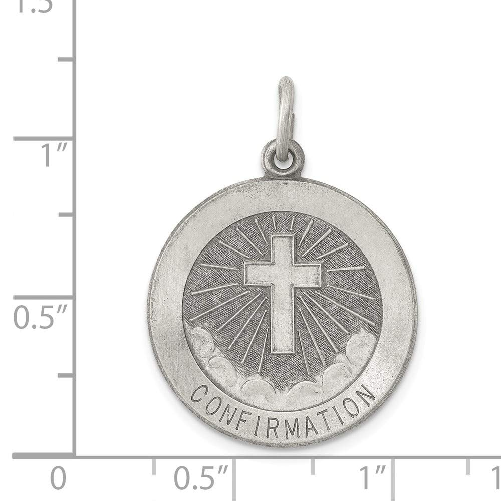 25mm x 22mm Mia Diamonds 925 Sterling Silver Solid Confirmation Medal Charm