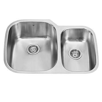 vigo 30 inch undermount 70 30 double bowl 18 gauge stainless steel kitchen sink vigo 30 inch undermount 70 30 double bowl 18 gauge stainless steel      rh   amazon com