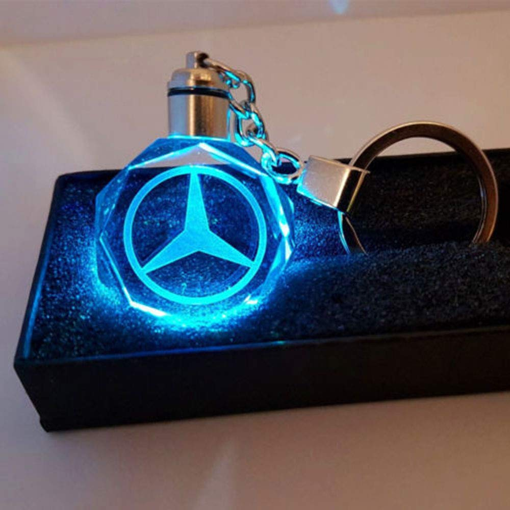 Fitracker LED Car Keychain Crystal Light Changing Car Key Chain Accessories Keyring for Mercedes Benz