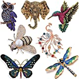 YallFF 7 Pieces Women Brooch Set Crystal Pin Vintage with Dragonfly Butterfly Hummingbird Owl Elephant Peacock Bee Animal and Insect Brooch Pin for Women Girls: more info