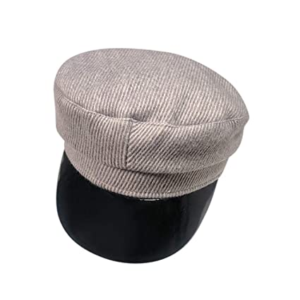 dbf2ac60979 Amazon.com  🌟LIULIULIU🌟Unisex Vintage Warm Military Flat Top Corduroy  Leather Cap Vintage Adjustable Hat (Grey)  Garden   Outdoor