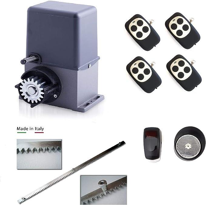 Kit completo profesional Motor puerta corredera ARTEMIS para puertas de hasta 600kg + 4 mandos a distancia + fotocélula espejo + cremallera de acero. 100% fabricado en Italia. (5 METROS CREMALLERA): Amazon.es: Bricolaje y herramientas