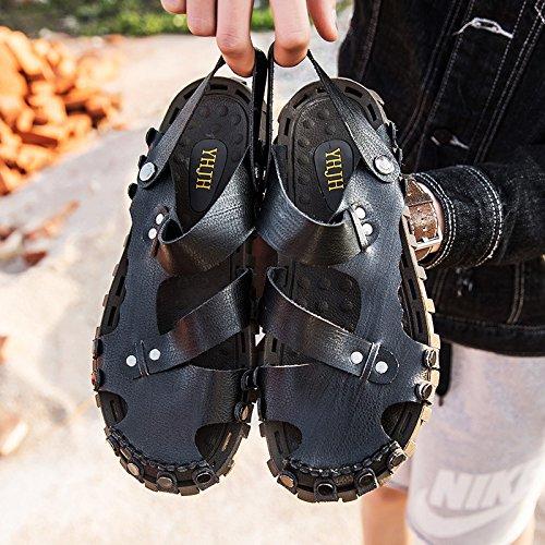 Xing Lin Flip Flop De La Playa Los Hombres Calzado Casual _ Moda De Verano Wild Baotou Sandalias Para Hombres Calzado Casual black