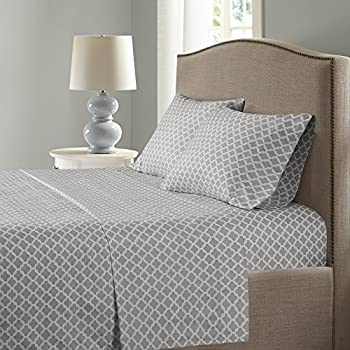 Comfort Spaces Coolmax Moisture Wicking 4 Piece Set Geometric Pattern Smart Bed Cooling Sheets for Night Sweats, Queen, Charcoal Print