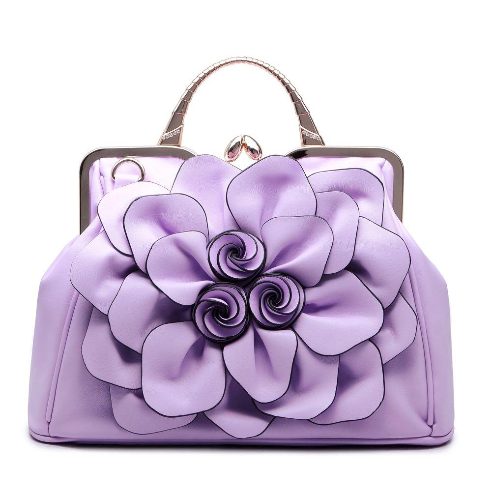 SUNROLAN Women's Evening Clutches Handbags Formal Party Wallets Wedding Purses Wristlets Ethnic Totes Satchel (Light Purple)