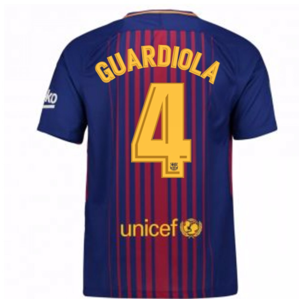 2017-2018 Barcelona Home Shirt (Guardiola 4) B078G12WB3Red XL 46-48\