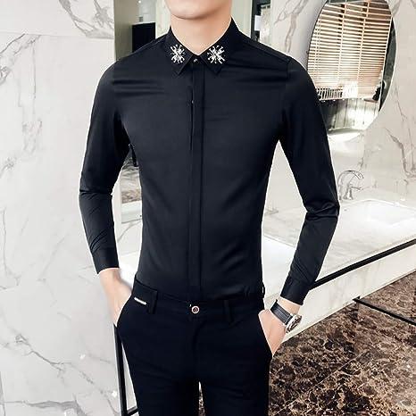 MKDLJY Camisas 2019 Luxury Diamond Camisa Negra de los Hombres de Manga Larga Slim Fit Camisas de Vestir Club de Fiesta Camisa de Baile Hombres Camisa Casual: Amazon.es: Deportes y aire libre