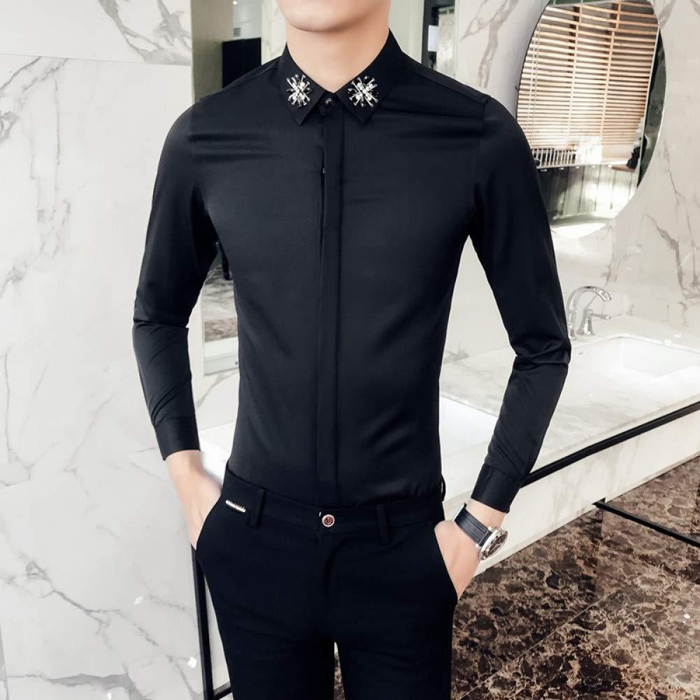 M  MKDLJY Homme Chemises 2019 De Diahommet Noir Chemise Hommes à Manches Longues Slim Fit Robe Chemise Chemise Party Club Prom Shirt Hommes Décontracté Shirt