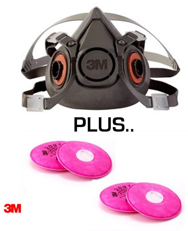3M Half Face Piece, P-100 Reusable Respirator, Medium Mask with 2 Sets of P-100 Filters - - 6200/07025/2-2091