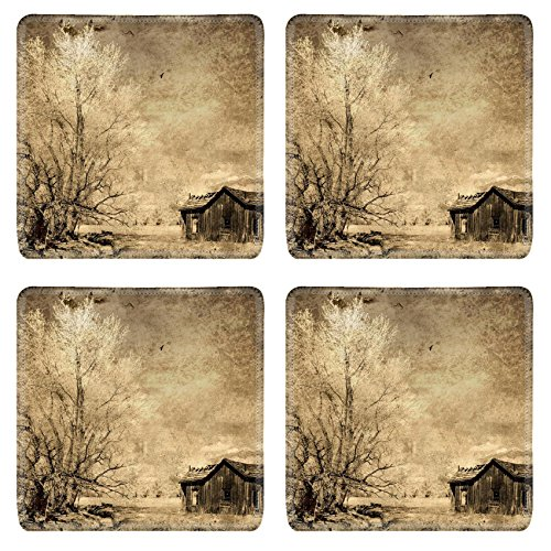 Sierra Accent End Table (Liili Natural Rubber Square Coasters IMAGE ID 32230430 an old western house with a cottonwood tree and circling birds on the eastern side of the Sierra mountains in)