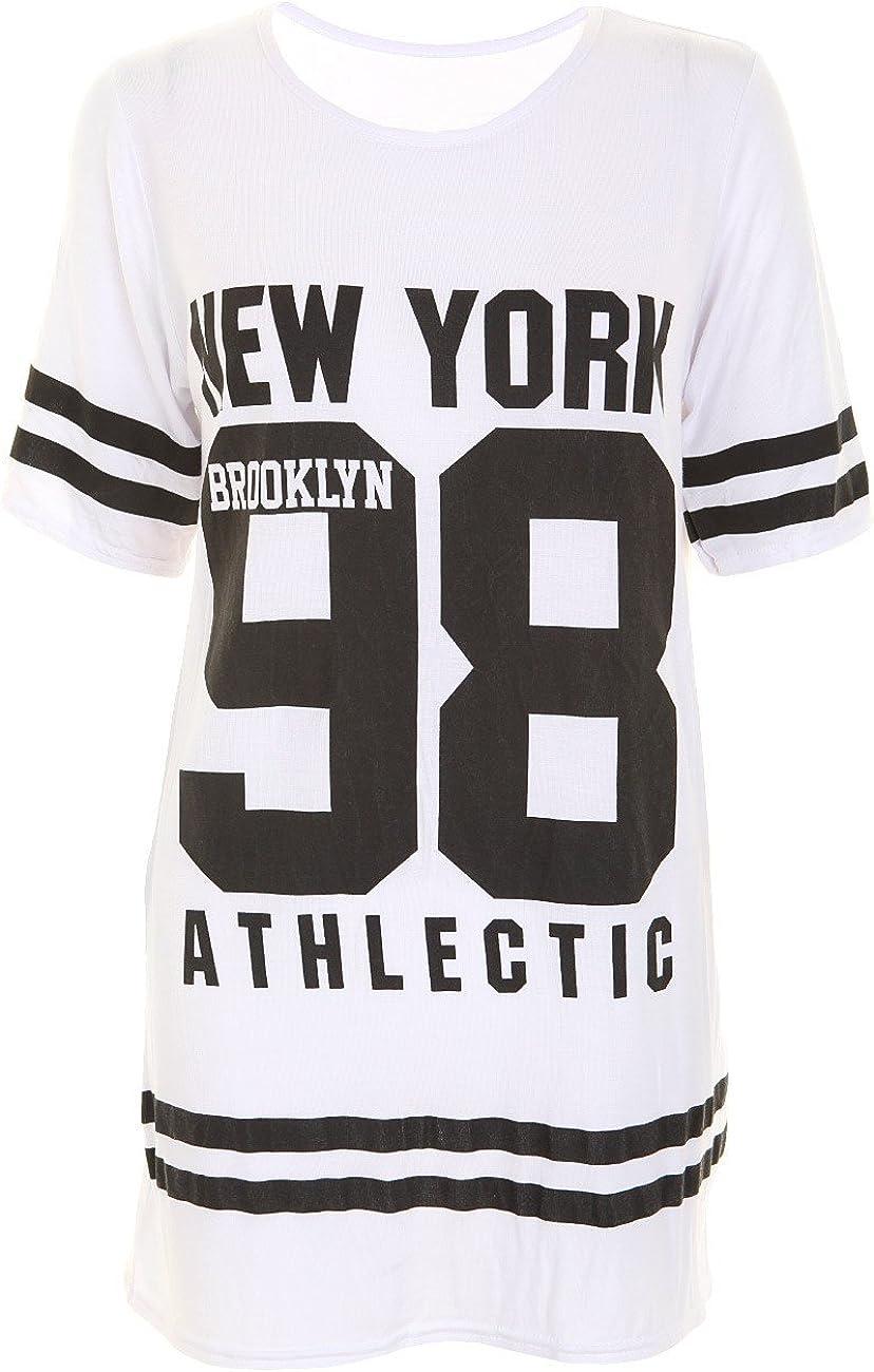 7 Fashion Road Womens Ladies American 98 Varsity Football Oversize Baggy T Shirt Top Plus Size Dress Tunic Black