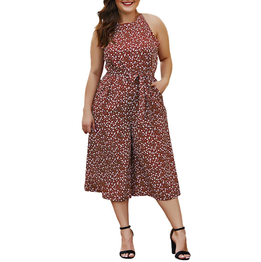 Ymibull Women Boho Floral Print Bow Rompers Casual Sleeveless Wide Leg Jumpsuit (Wine, XL)