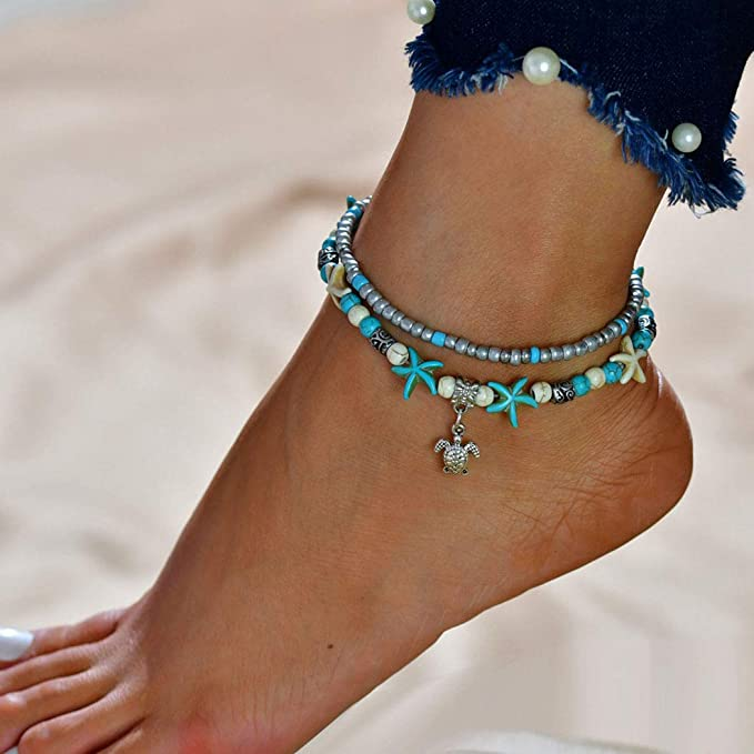 Blue Multilayer Charm Beads Sea Handmade Boho Anklet Foot Jewelry for Women,Europe and The United States Cross-border New Anklet Wish Retro Turtle Dolphin Woven Push-pull Anklet Set 3 Sets