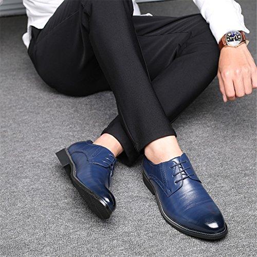 AARDIMI Azul Cordones Zapatos Caucho Hombre de Planos con rHrZ0