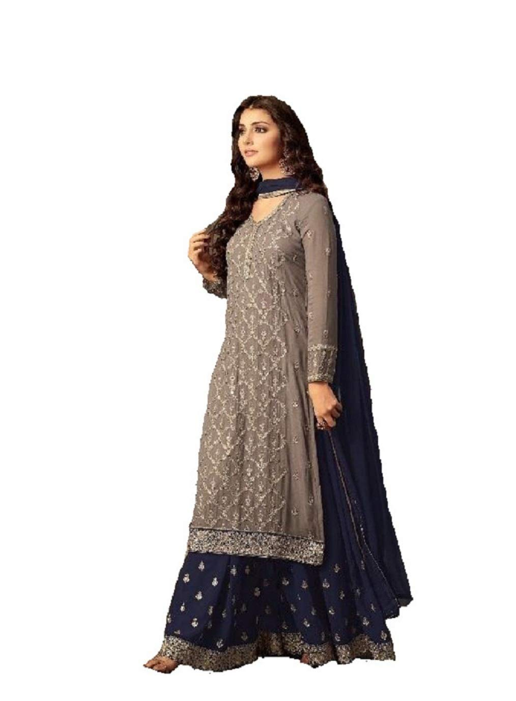 ziya Indian/Pakistani Ethnic wear Georgette Plaazo Salwar Kameez (Blue, XL-44)