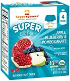 Happy Squeeze Organic Superfoods Twist Apple Blueberry Pomegranate, 3.17 Ounce Pouch (Pack of 16) Baby Toddler Kid Snack Pouch, Resealable, No Added Sugar Non-GMO Kosher, Good Source of Vitamin C