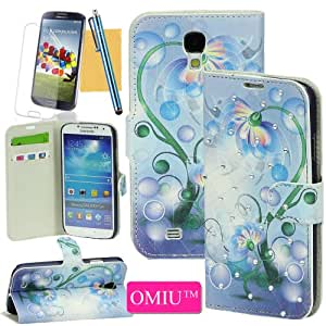 Galaxy S4 Case, OMIU(TM)Luxury Graceful Flower Pattern Diamond Decoreted Design Stand Leather Wallet Case with Credit Cards Slots For Samsung Galaxy S4 i9500(Blue),Sent Screen Protector+Stylus+Cleaning Cloth