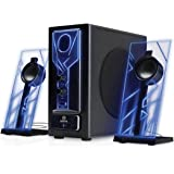GOgroove BassPULSE Bluetooth Computer Speakers 2.1 with Bass Subwoofer, Glowing Blue LED Lights and 33 Foot Wireless Range - Connect your Desktop PC, Laptop, Smartphone, Tablet and More Devices