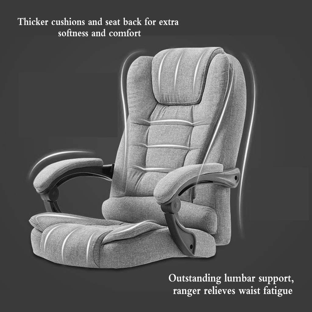 ZHAN YI SHOP kontorsstol, tyg vilande chef stol, lyft och 360° rotation svängbar stol, platt vilande datorstol, spelstol mjuk och bekväm, för hem och kontor (färg: svart) BLÅ