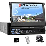 Car Stereo Single Din in Dash Head Unit with GPS 7 Inch HD Digital Touch Screen Car Radio with Bluetooth Audio Video Support