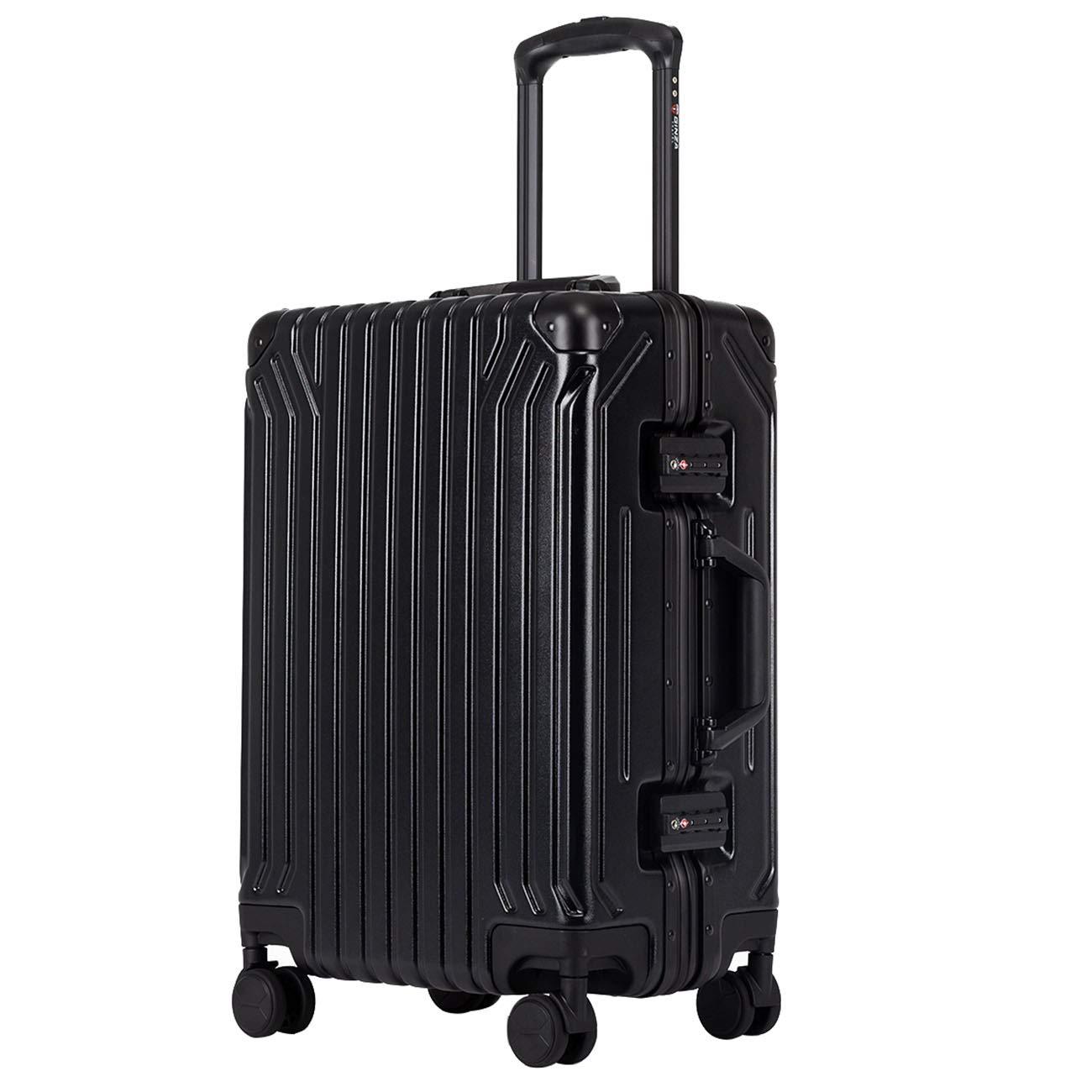 クロース(Kroeus)キャリーケース スーツケース PC100%ボディ アルミフレーム 高強度 TSAロック搭載 4輪ダブルキャスター S型機内持ち込み可 日本語取扱説明書 1年間保証付き B07NP3L188 ブラック S(40L/1~3泊)