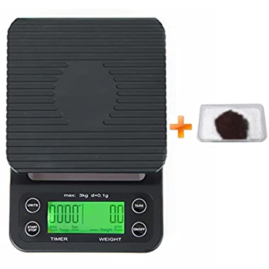 Food and Coffee Scale 0.1g Timer Precision Sensors Color Black With LCD display Battery not Included in Package