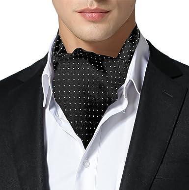 Remo Sartori Made in Italy Men s Black Self Cravat Ascot Tie with ... c15c0536028