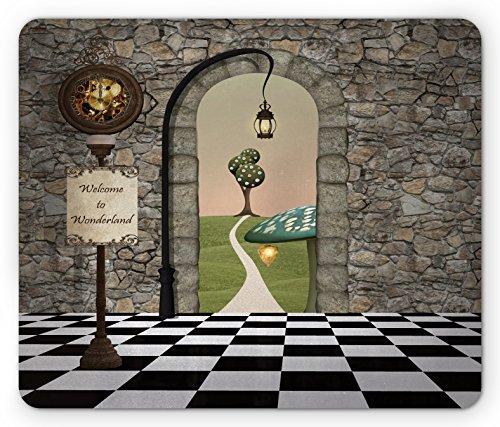 Ambesonne Alice in Wonderland Mouse Pad, Welcome Wonderland Black and White Floor Landscape Mushroom Lantern, Rectangle Non-Slip Rubber Mousepad, Standard Size, Black Green (Mousepad Alice In Wonderland)