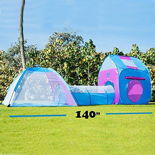 Kids Pop Up Play Tent With Tunnel 3-in-1 Playhut by Unicorn Hours of Indoor Outdoor Fun Popup X-Large Ball Pit for Children – Pink and Blue